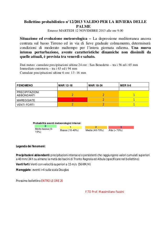 Bollettino probabilistico n°12/2013 VALIDO PER LA RIVIERA DELLE PALME Emesso MARTEDI 12 NOVEMBRE 2013 alle ore 9.00  Situa...