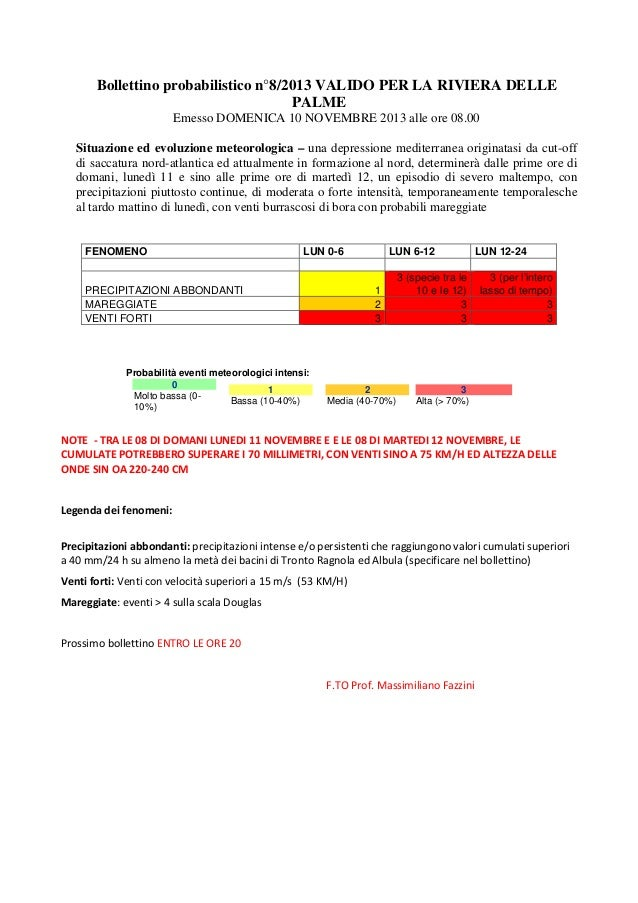 Bollettino probabilistico n°8/2013 VALIDO PER LA RIVIERA DELLE PALME Emesso DOMENICA 10 NOVEMBRE 2013 alle ore 08.00 Situa...