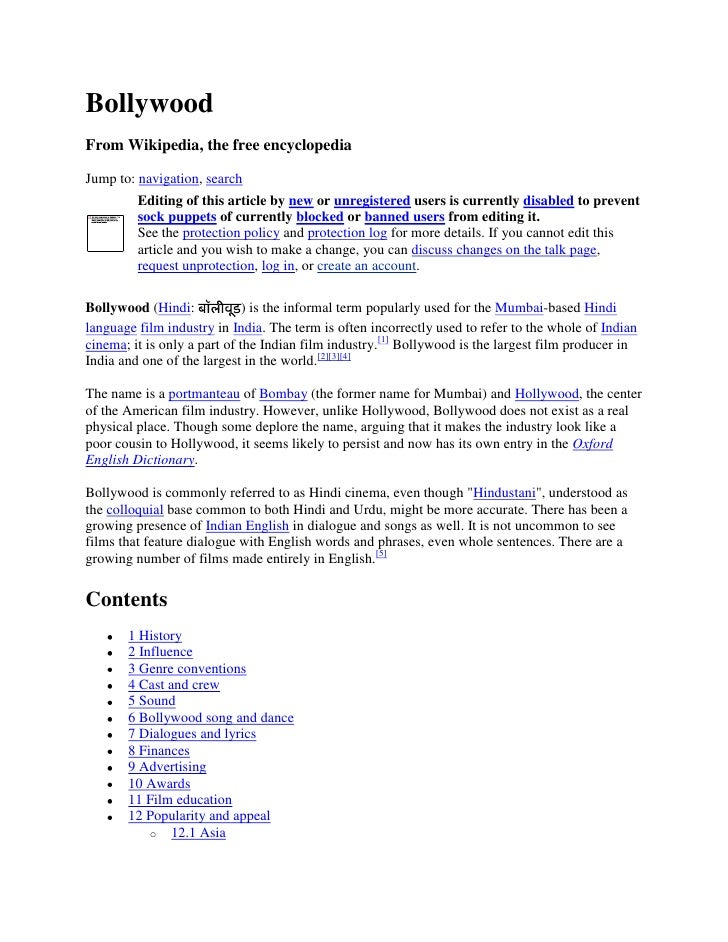 Bollywood From Wikipedia, the free encyclopedia  Jump to: navigation, search          Editing of this article by new or un...