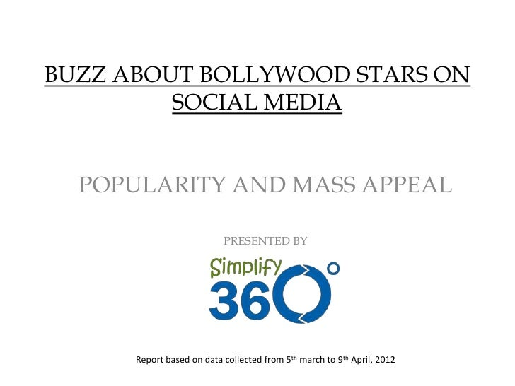 BUZZ ABOUT BOLLYWOOD STARS ON         SOCIAL MEDIA  POPULARITY AND MASS APPEAL                           PRESENTED BY     ...