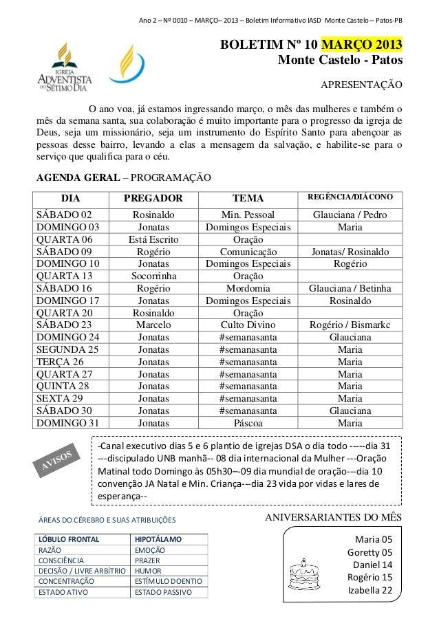 Ano 2 – Nº 0010 – MARÇO– 2013 – Boletim Informativo IASD Monte Castelo – Patos-PB                                         ...