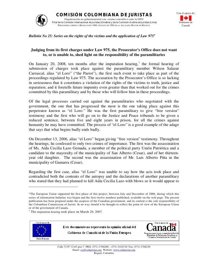 Con el apoyo de:                      COMISIÓN COLOMBIANA DE JURISTAS                             Organización no gubernam...