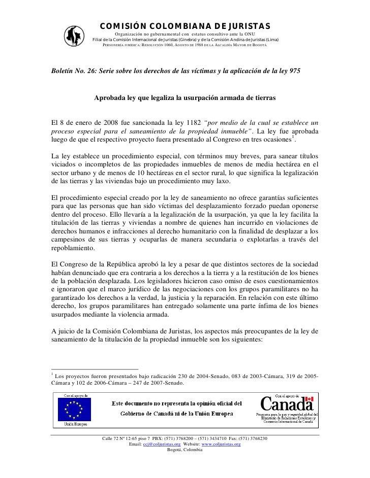 COMISIÓN COLOMBIANA DE JURISTAS                           Organización no gubernamental con estatus consultivo ante la ONU...
