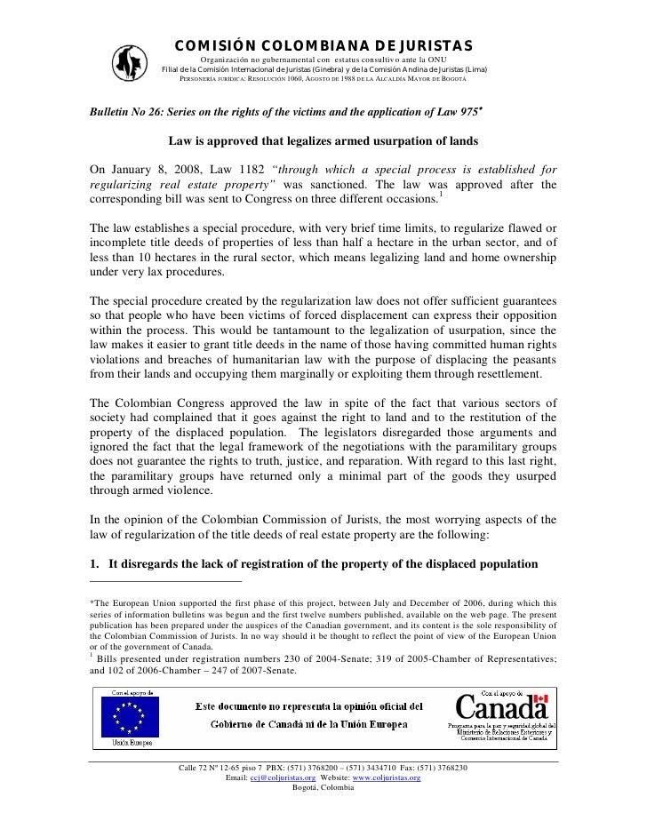 COMISIÓN COLOMBIANA DE JURISTAS                             Organización no gubernamental con estatus consultiv o ante la ...