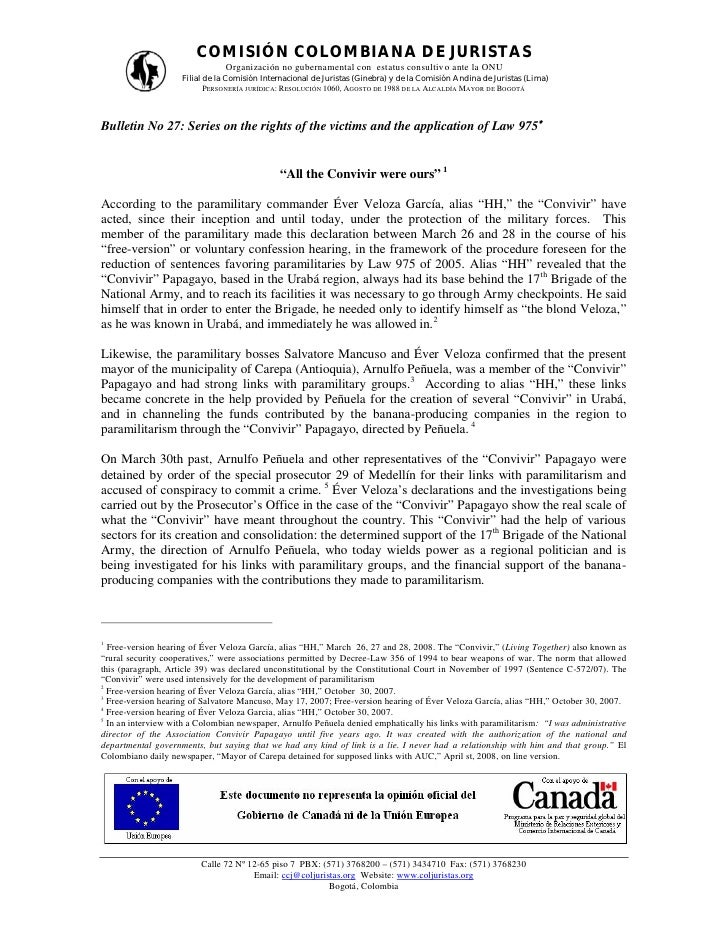 COMISIÓN COLOMBIANA DE JURISTAS                               Organización no gubernamental con estatus consultiv o ante l...