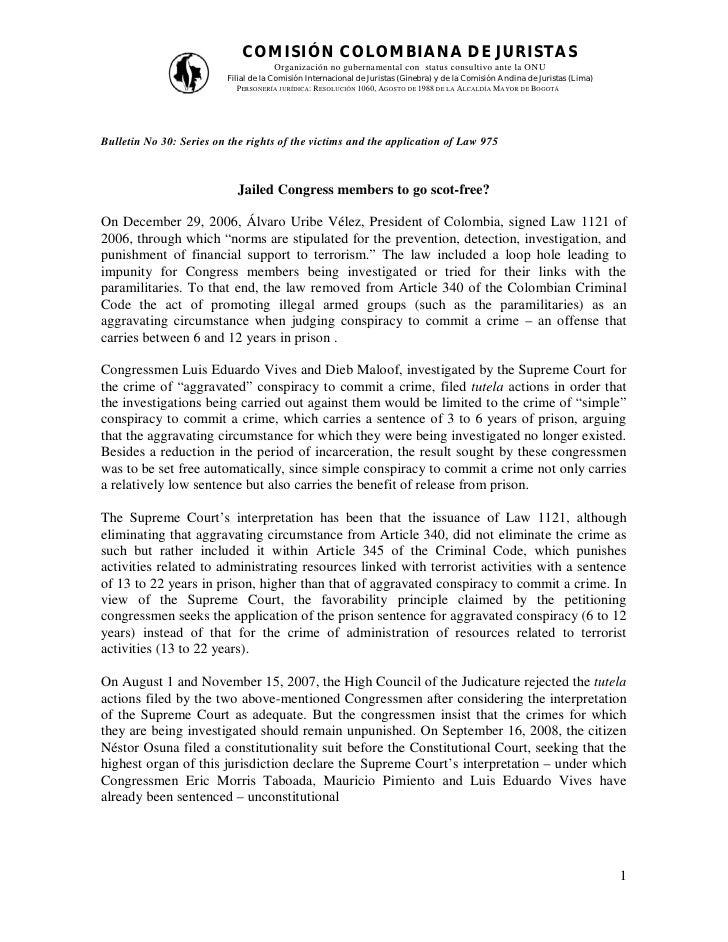 COMISIÓN COLOMBIANA DE JURISTAS                                      Organización no gubernamental con status consultivo a...