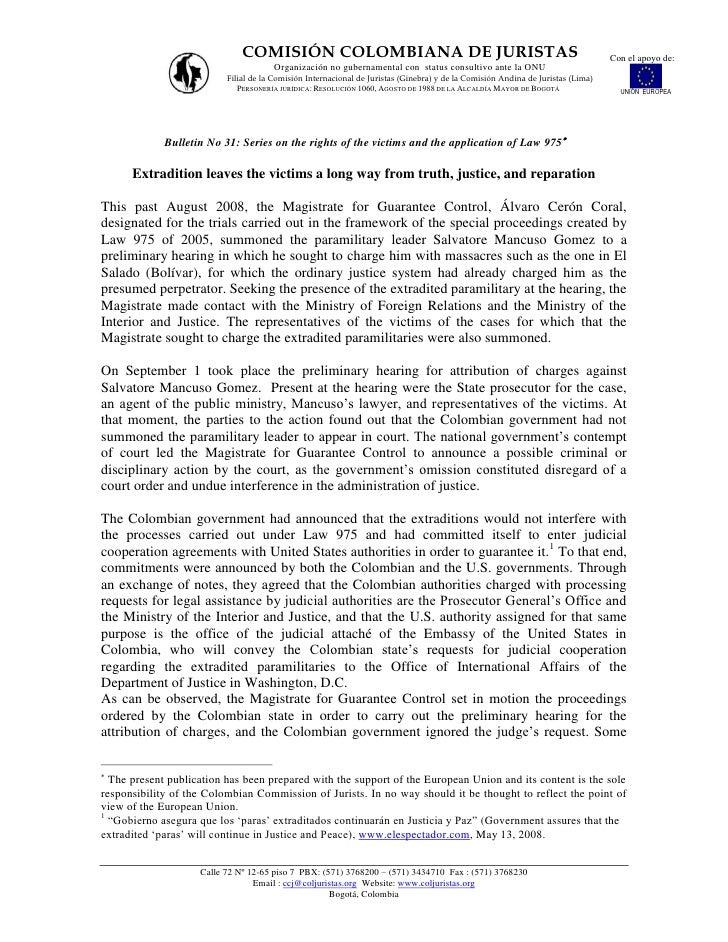 COMISIÓN COLOMBIANA DE JURISTAS                                                                    Con el apoyo de:       ...