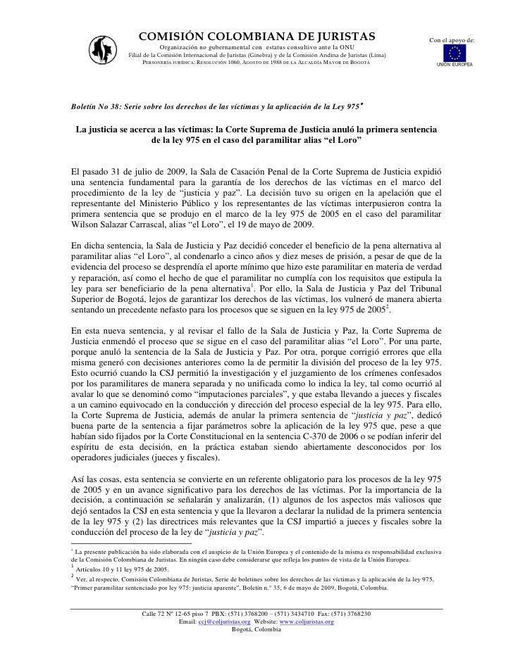 COMISIÓN COLOMBIANA DE JURISTAS                                                                              Con el apoyo ...