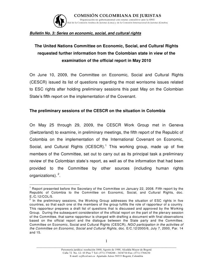 COMISIÓN COLOMBIANA DE JURISTAS                                      Organización no gubernamental con estatus consultivo ...