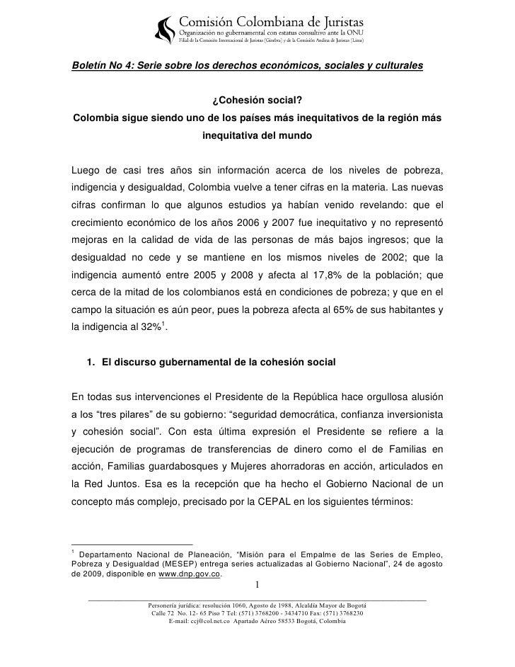 Boletín No 4: Serie sobre los derechos económicos, sociales y culturales                                          ¿Cohesió...