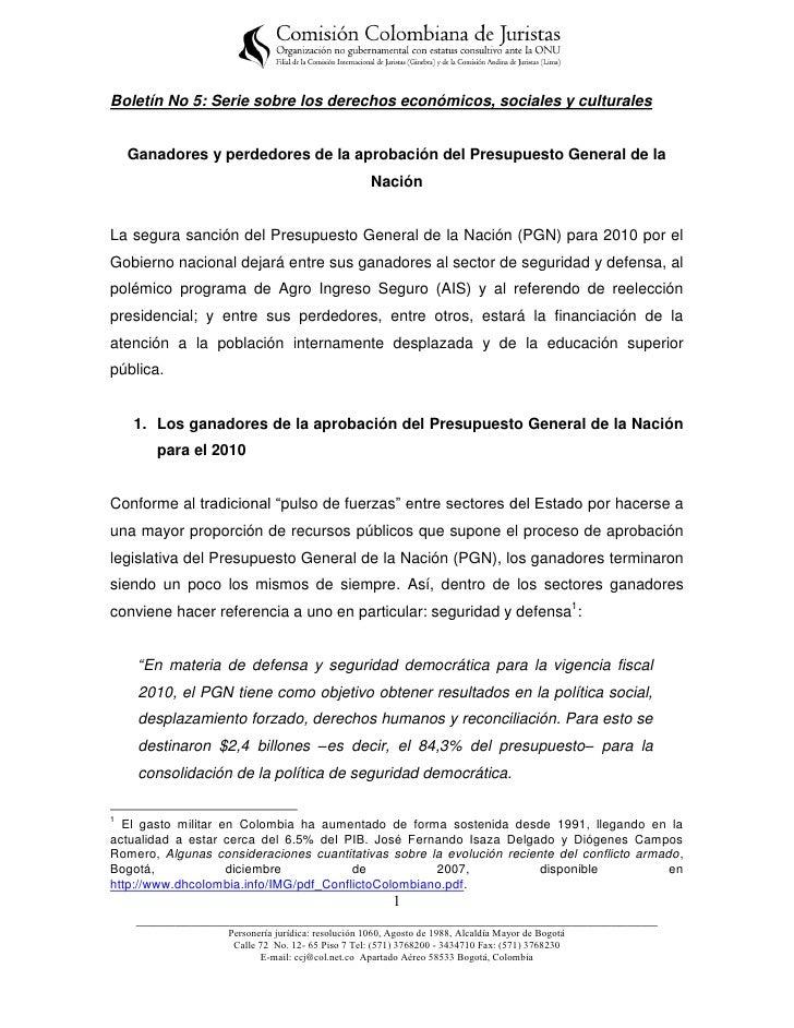 Boletín No 5: Serie sobre los derechos económicos, sociales y culturales    Ganadores y perdedores de la aprobación del Pr...