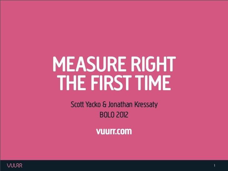 MEASURE RIGHTTHE FIRST TIME  Scott Yacko & Jonathan Kressaty             BOLO 2012           vuurr.com                    ...