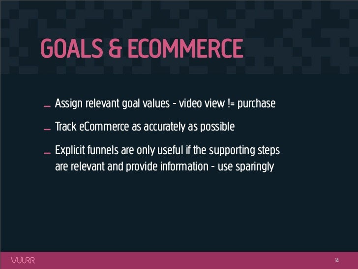 GOALS & ECOMMERCE_ Assign relevant goal values - video view != purchase_ Track eCommerce as accurately as possible_ Explic...