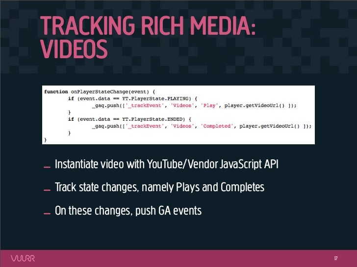 TRACKING RICH MEDIA:VIDEOS_ Instantiate video with YouTube/Vendor JavaScript API_ Track state changes, namely Plays and Co...