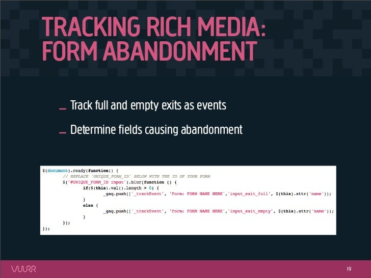TRACKING RICH MEDIA:FORM ABANDONMENT _ Track full and empty exits as events _ Determine fields causing abandonment         ...