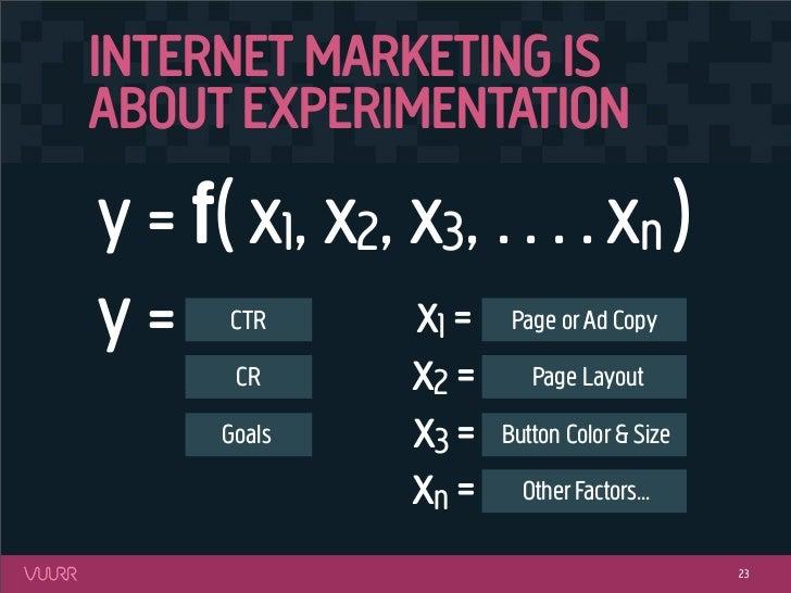 INTERNET MARKETING ISABOUT EXPERIMENTATIONy = f( x1, x2, x3, . . . . xn )y=    CTR      x1 =     Page or Ad Copy       CR ...