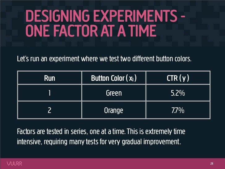 DESIGNING EXPERIMENTS -   ONE FACTOR AT A TIMELet's run an experiment where we test two different button colors.          ...