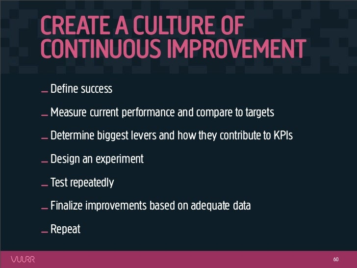 CREATE A CULTURE OFCONTINUOUS IMPROVEMENT_ Define success_ Measure current performance and compare to targets_ Determine bi...