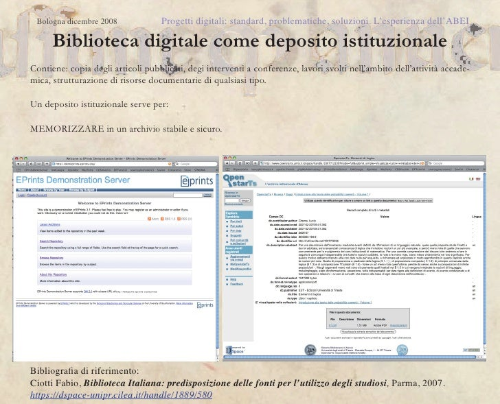 Bologna dicembre 2008             Progetti digitali: standard, problematiche, soluzioni. L'esperienza dell'ABEI      Bibli...