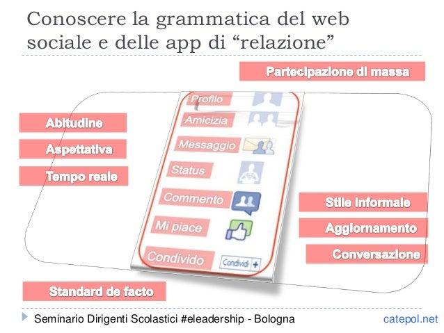 """Conoscere la grammatica del web sociale e delle app di """"relazione"""" catepol.netSeminario Dirigenti Scolastici #eleadership ..."""