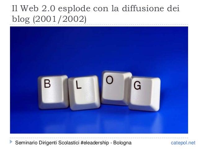 Il Web 2.0 esplode con la diffusione dei blog (2001/2002) catepol.netSeminario Dirigenti Scolastici #eleadership - Bologna