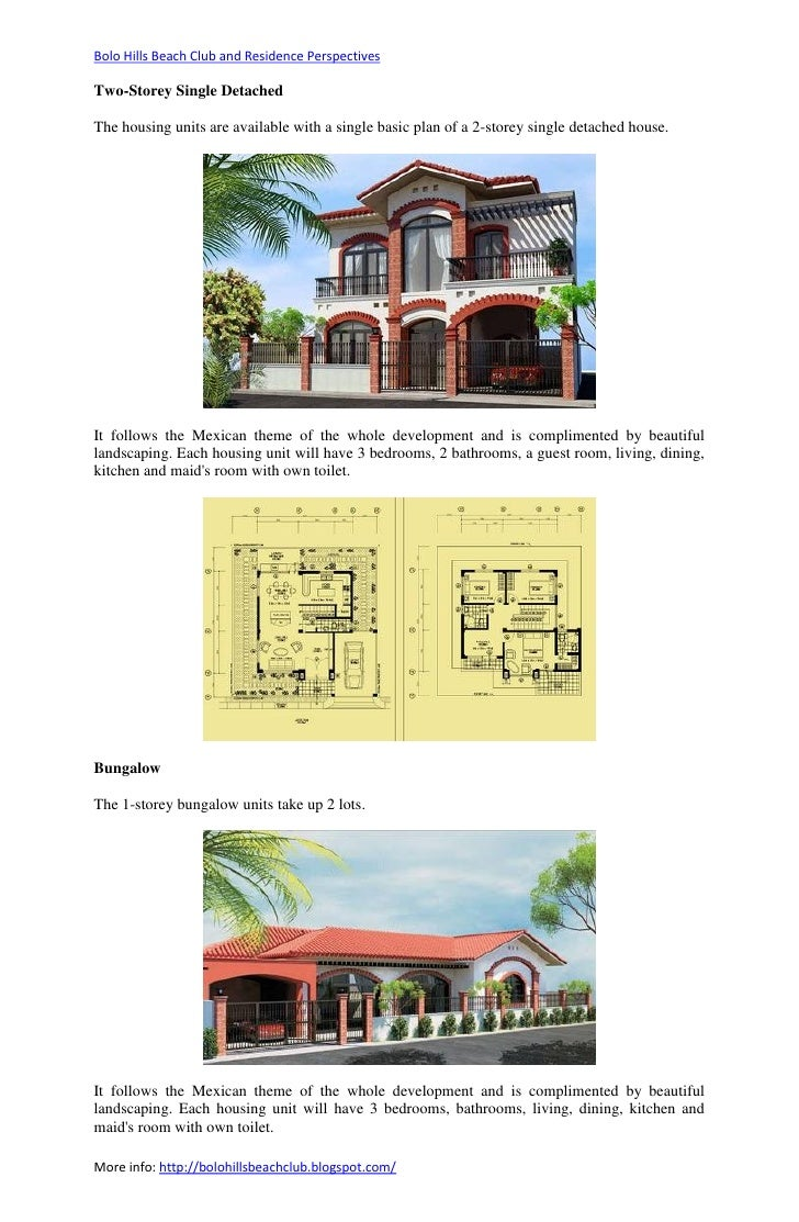 Bolo Hills Beach Club and Residence PerspectivesTwo-Storey Single DetachedThe housing units are available with a single ba...
