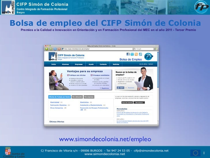 CIFP Simón de Colonia Centro Integrado de Formación Profesional BurgosBolsa de empleo del CIFP Simón de Colonia    Premios...