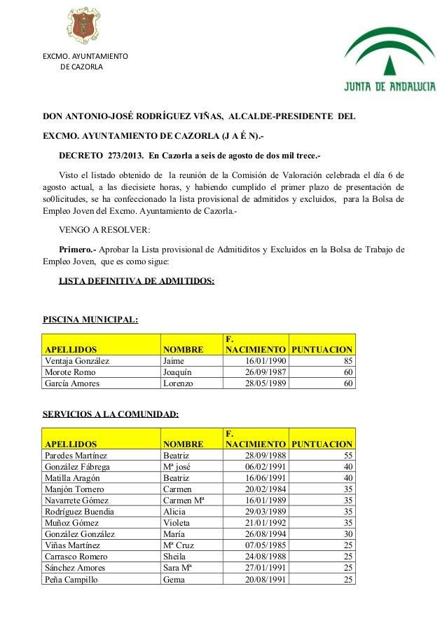 Bolsa de empleo juvenil ayuntamiento de cazorla for Bolsa de trabajo arquitecto