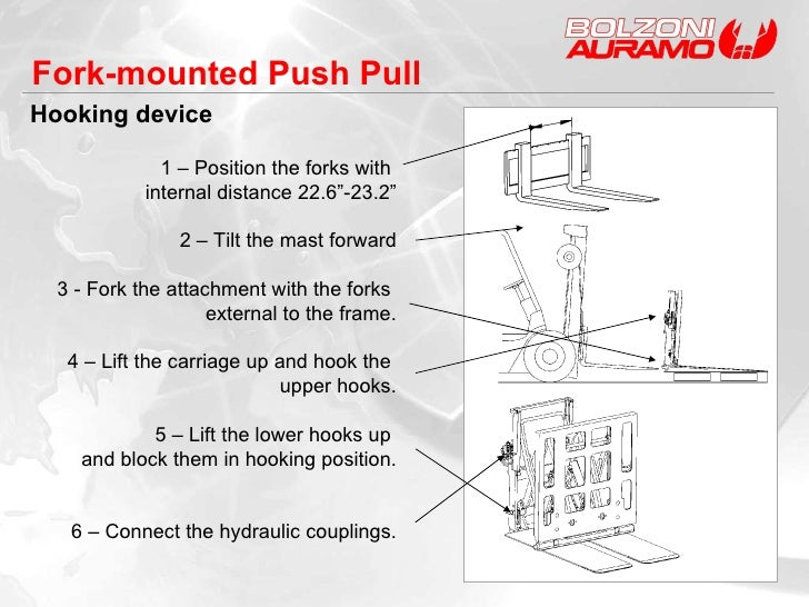 """Hooking device Fork-mounted Push Pull 1 – Position the forks with  internal distance 22.6""""-23.2"""" 2 – Tilt the mast forward..."""