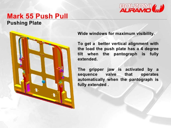Pushing Plate Mark 55 Push Pull  Wide windows for maximum visibility. To get a  better vertical alignment with the load th...