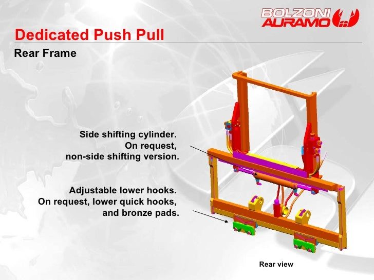 Rear Frame Rear view Side shifting cylinder.  On request,  non-side shifting version. Adjustable lower hooks.  On request,...