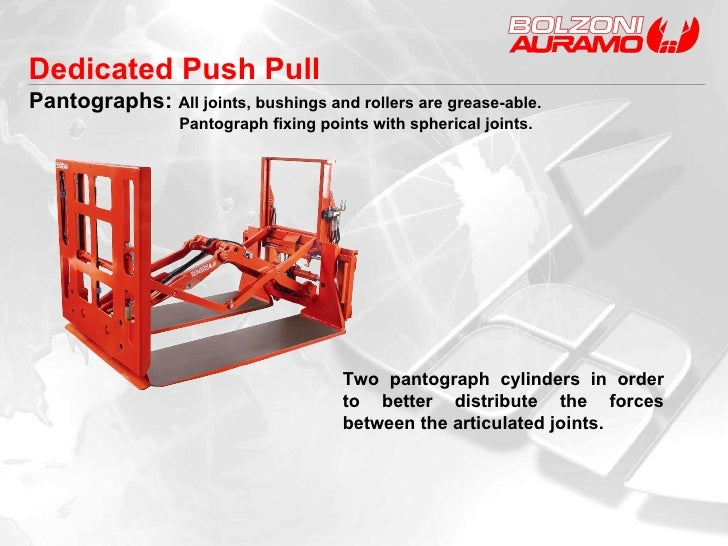 Two pantograph cylinders in order to better distribute the forces between the articulated joints. Dedicated Push Pull Pant...