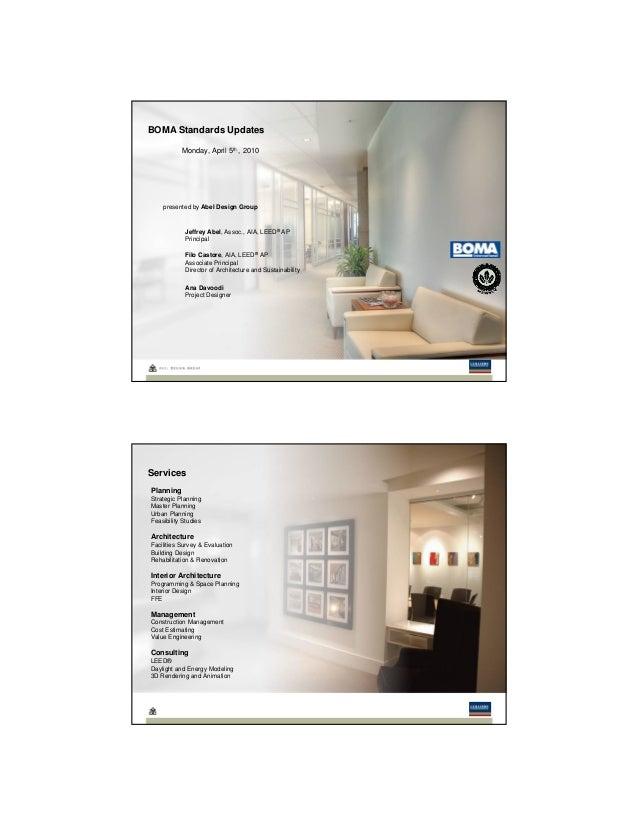 BOMA Standards Updates Monday, April 5th , 2010 Filo Castore, AIA, LEED® AP Associate Principal Director of Architecture a...