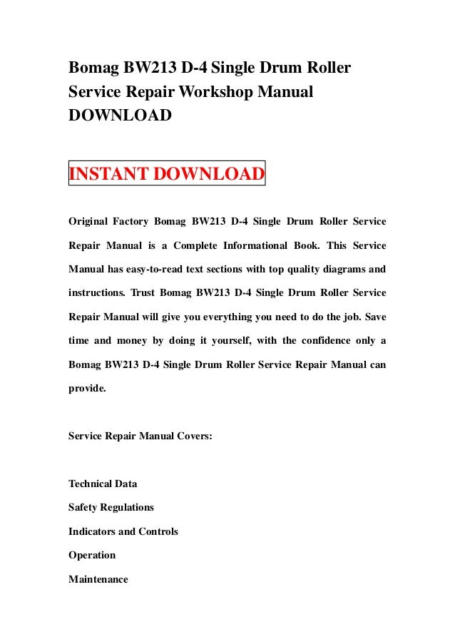 Bomag bw12r/bw 12 r/bw 12r/bw12 r service repair manual | ebay.