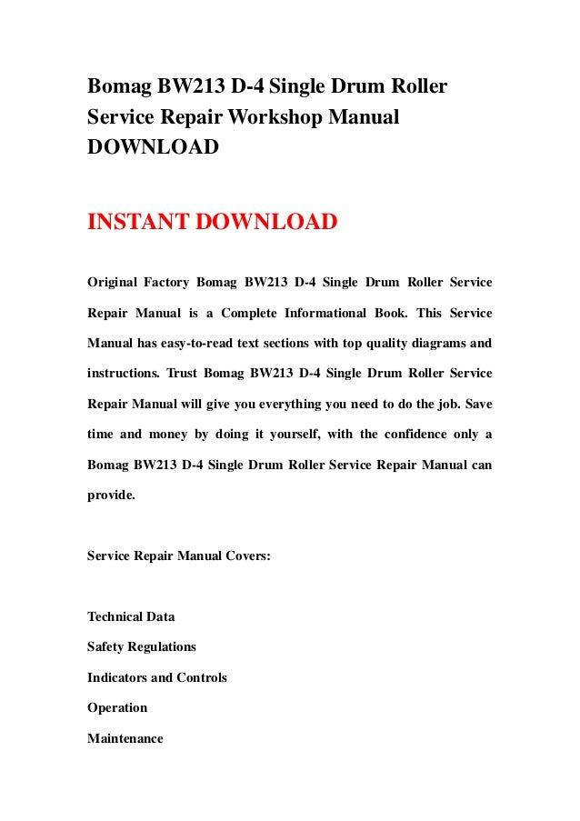 Bomag hypac c766c c778b compactor service shop repair manual.