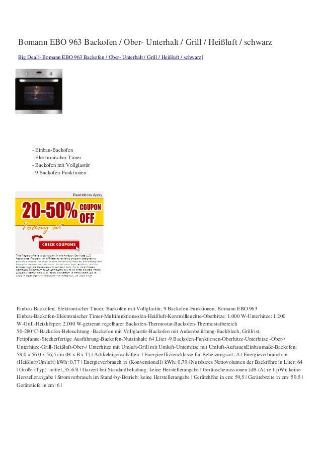 Bomann EBO 963 Backofen / Ober- Unterhalt / Grill / Heißluft / schwarzBig Deal!- Bomann EBO 963 Backofen / Ober- Unterhalt...