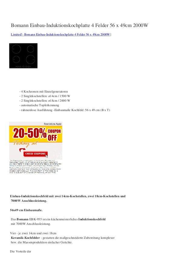 Bomann Einbau-Induktionskochplatte 4 Felder 56 x 49cm 2000WLimited!- Bomann Einbau-Induktionskochplatte 4 Felder 56 x 49cm...