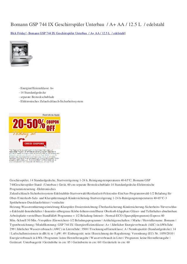 Bomann GSP 744 IX Geschirrspüler Unterbau / A+ AA / 12.5 L / edelstahlBlck Friday!- Bomann GSP 744 IX Geschirrspüler Unter...