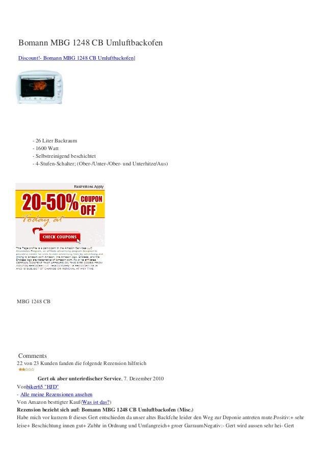 Bomann MBG 1248 CB UmluftbackofenDiscount!- Bomann MBG 1248 CB Umluftbackofen]- 26 Liter Backraum- 1600 Watt- Selbstreinig...