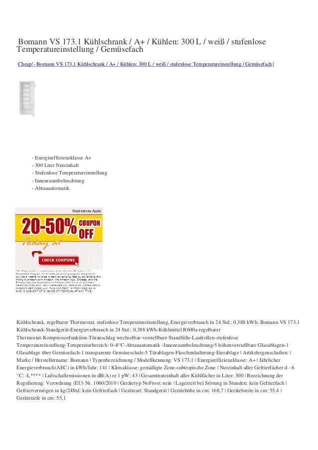Bomann VS 173.1 Kühlschrank / A+ / Kühlen: 300 L / weiß / stufenloseTemperatureinstellung / GemüsefachCheap!- Bomann VS 17...