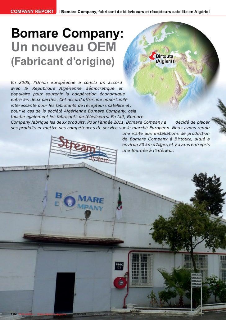 COMPANY REPORT                         Bomare Company, fabricant de téléviseurs et récepteurs satellite en AlgérieBomare C...