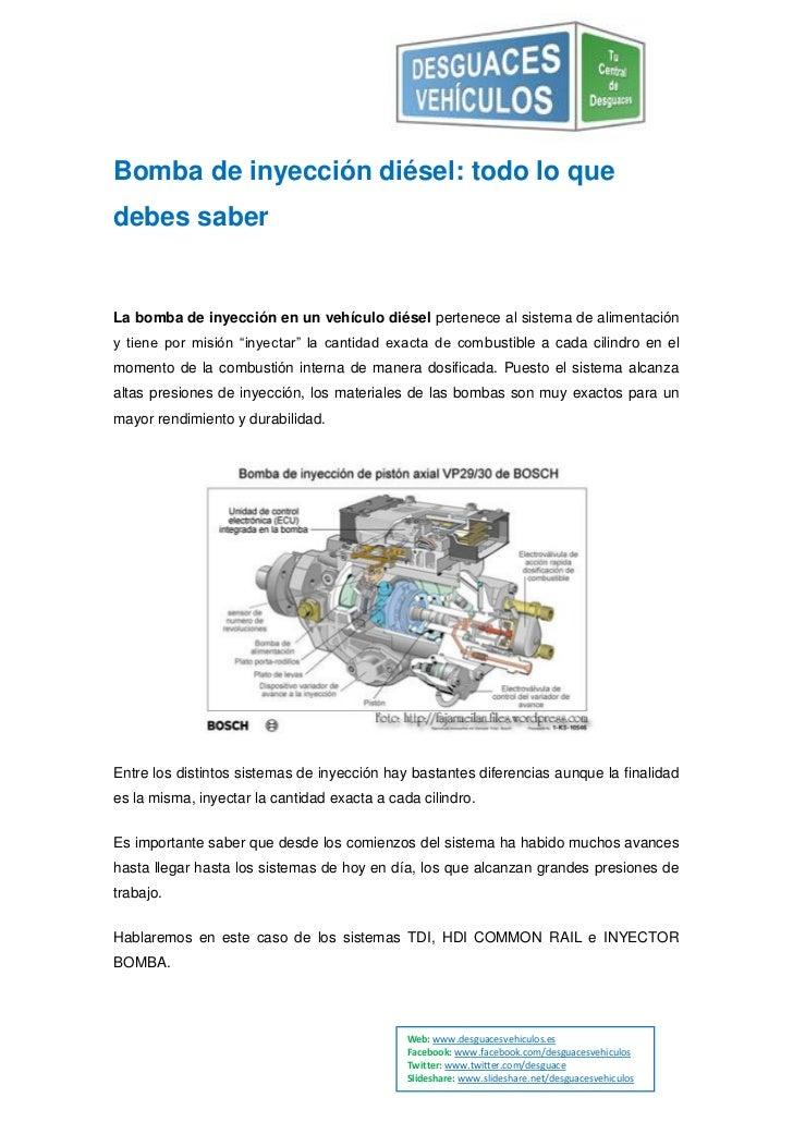 Bomba de inyección diésel: todo lo quedebes saberLa bomba de inyección en un vehículo diésel pertenece al sistema de alime...