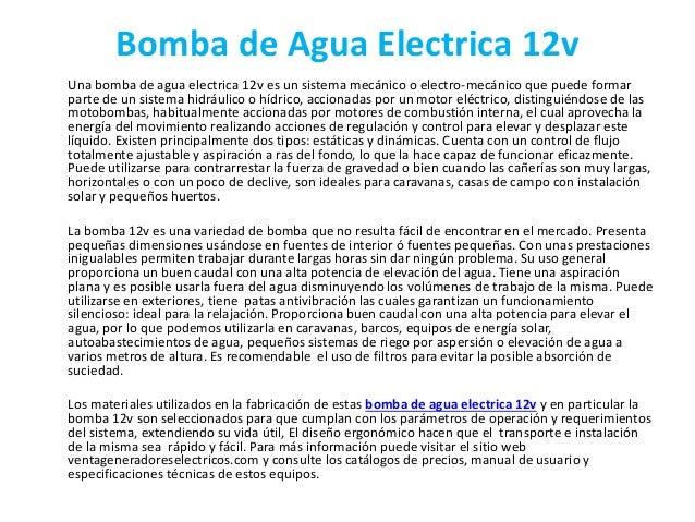Bomba de agua electrica 12v for Bomba de agua electrica