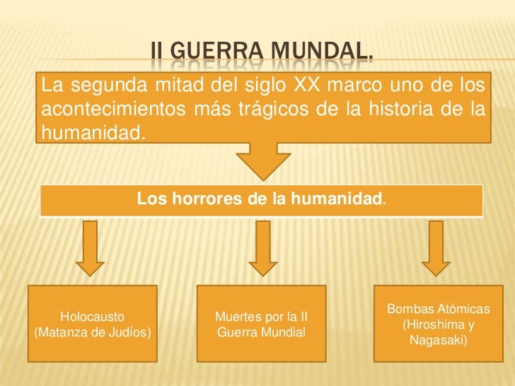 II GUERRA MUNDAL.<br />La segunda mitad del siglo XX marco uno de los acontecimientos más trágicos de la historia de la hu...