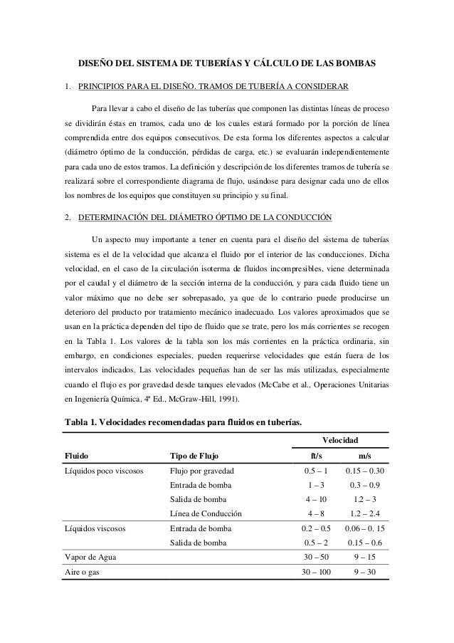 DISEÑO DEL SISTEMA DE TUBERÍAS Y CÁLCULO DE LAS BOMBAS1. PRINCIPIOS PARA EL DISEÑO. TRAMOS DE TUBERÍA A CONSIDERAR        ...