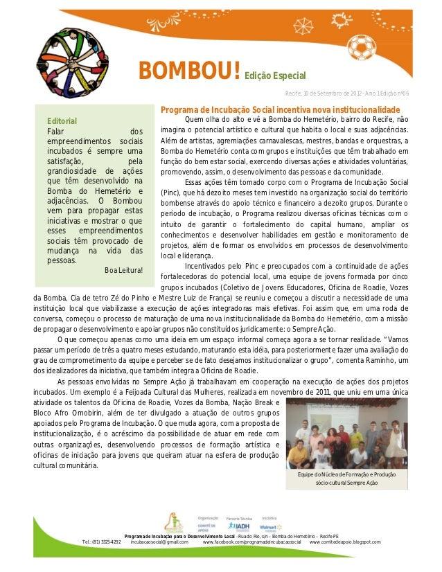 BOMBOU!                                          Edição Especial                                           Informativo do ...
