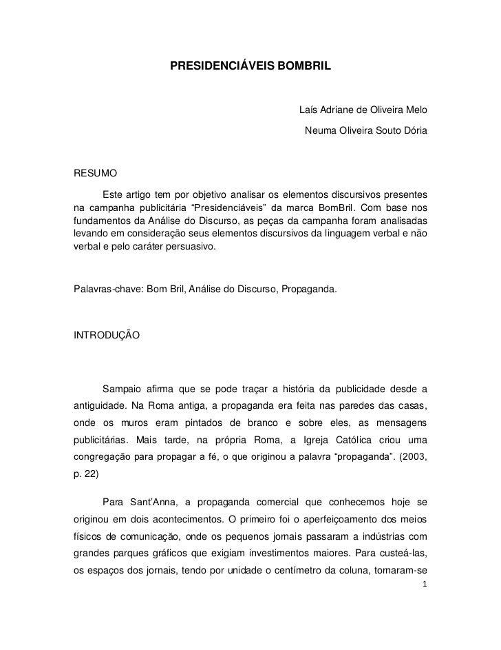 PRESIDENCIÁVEIS BOMBRIL                                                  Laís Adriane de Oliveira Melo                    ...