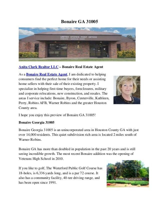 Bonaire GA 31005  Anita Clark Realtor LLC – Bonaire Real Estate Agent As a Bonaire Real Estate Agent, I am dedicated to h...