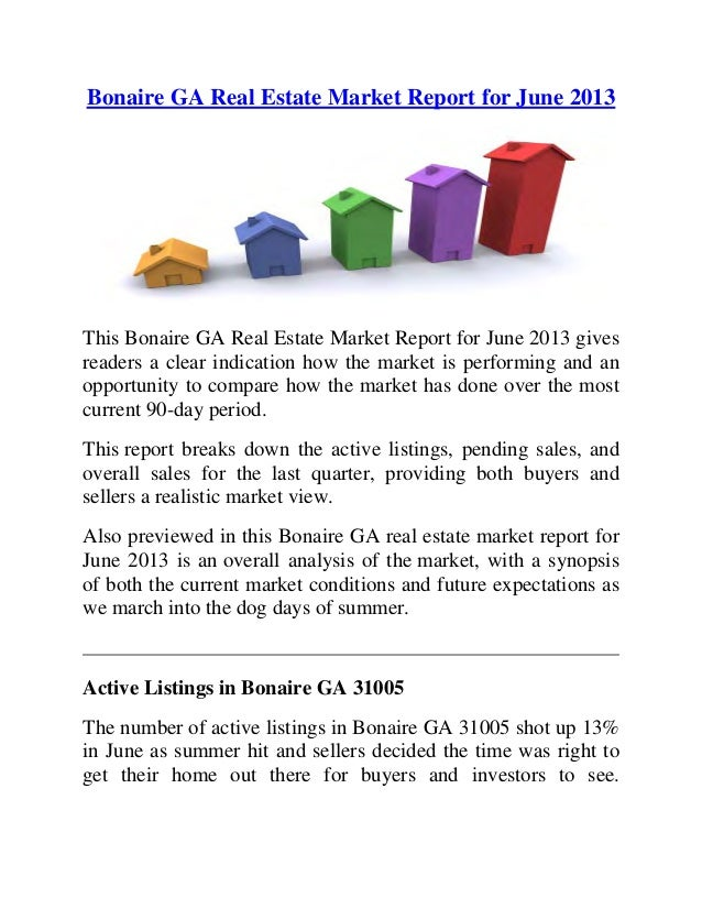 Bonaire GA Real Estate Market Report for June 2013 This Bonaire GA Real Estate Market Report for June 2013 gives readers a...