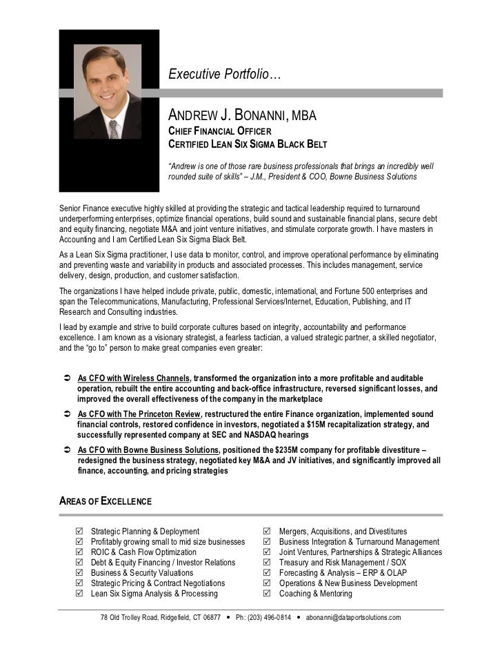 Executive Portfolio…                                   ANDREW J. BONANNI, MBA                                   CHIEF FINA...